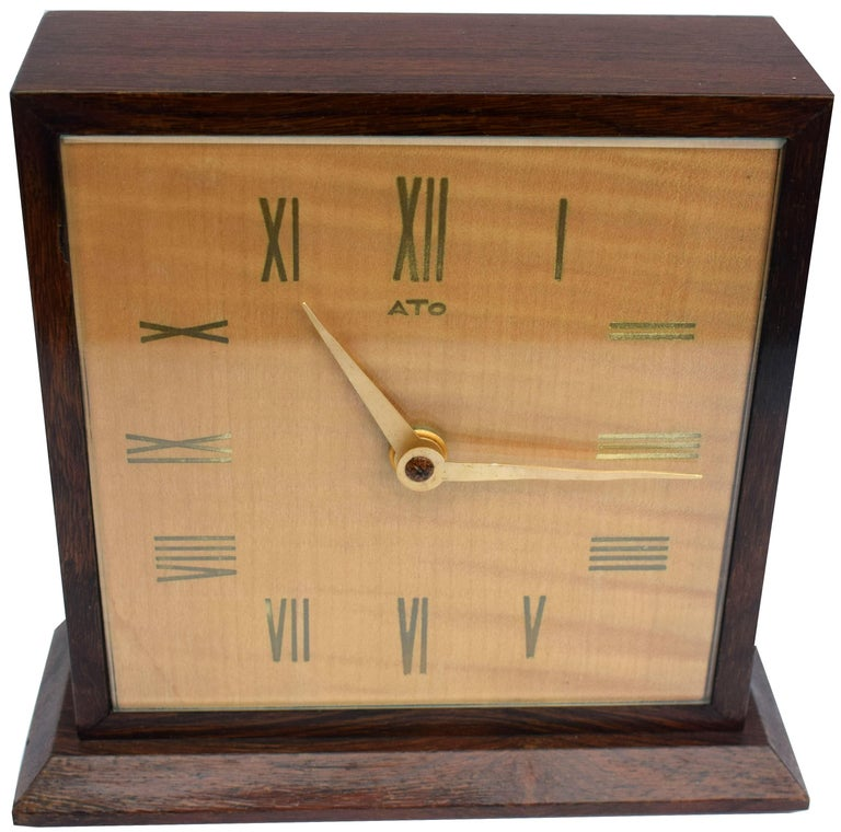 Art Deco Modernist Mantle Clock by ATO, 1930s For Sale 1