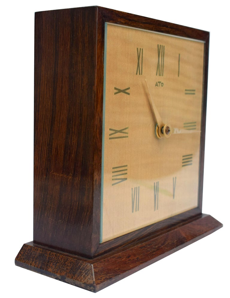 Art Deco Modernist Mantle Clock by ATO, 1930s For Sale 2