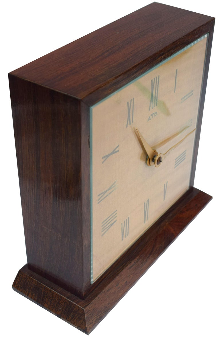Art Deco Modernist Mantle Clock by ATO, 1930s For Sale 3