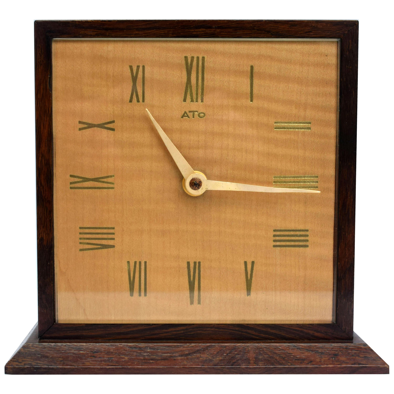 Art Deco Modernist Mantle Clock by ATO, 1930s