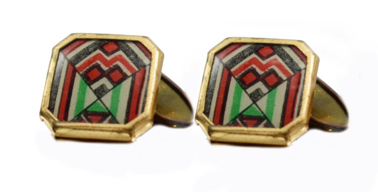 Art Deco Modernist Matching Pair of Enamel Gents Cufflinks, circa 1930 In Good Condition For Sale In Westward ho, GB