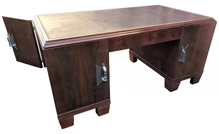 Leather Art Deco Modernist Partners Desk, circa 1930 For Sale