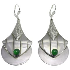 Art Deco Modernist Silver Plated and Green Glass Earrings, circa 1930
