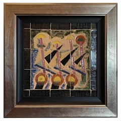 Art Deco Modernist Tile Painting