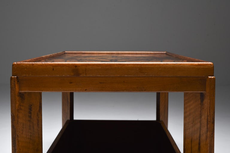 Rosewood Art Deco Modernist Two Tier Coffee Table by H. Wouda For Sale