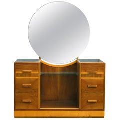 Art Deco Modernist Walnut Dressing Table, circa 1930