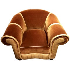 Art Deco Mohair and Leather Glamour Club Chair Hollywood