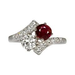 Art Deco Moi&Toi 1.75 Carat No Heat Ruby Diamond White Gold Ring