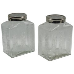 Art Deco Molded Glass and Chrome Kitchen Canister Jar Set, a Pair
