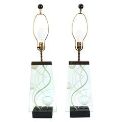Art Deco Molded Glass Table Lamps