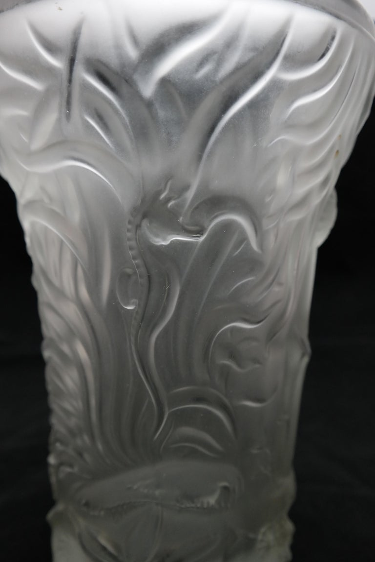 Art Deco Molded Pressed Glass Vase in Lalique Style For Sale 6