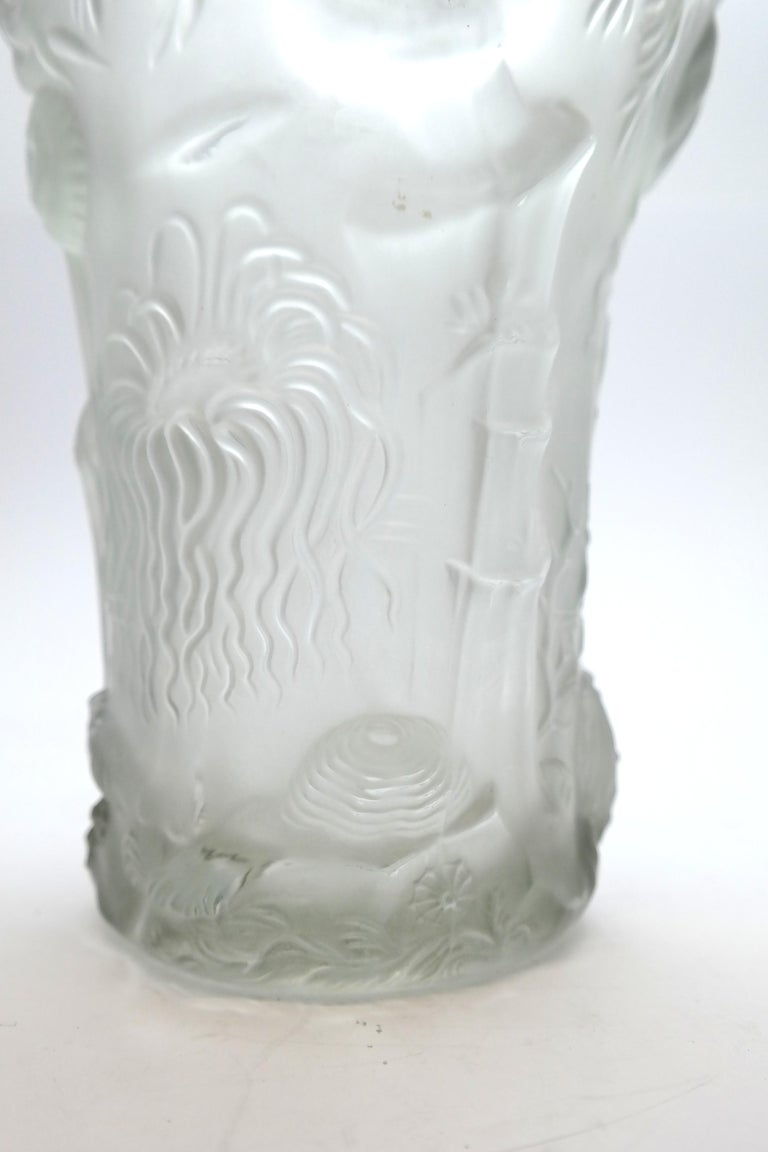 Art Deco Molded Pressed Glass Vase in Lalique Style For Sale 7