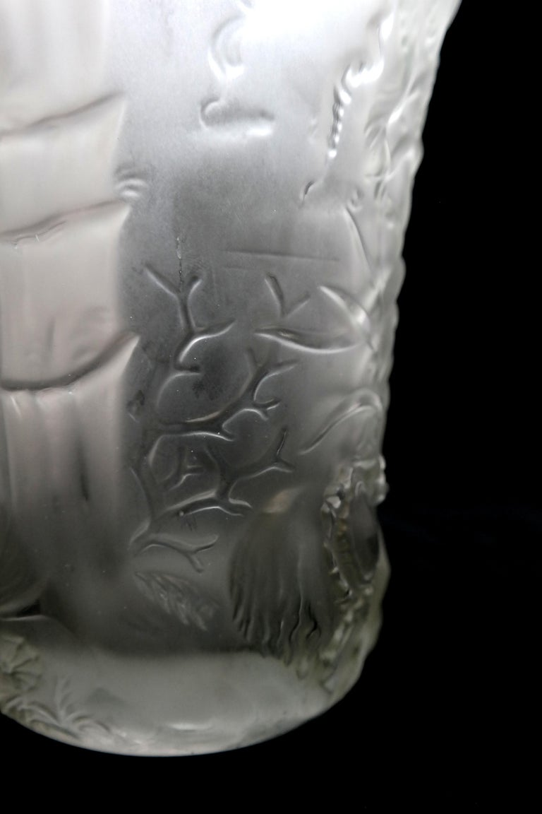 Art Deco Molded Pressed Glass Vase in Lalique Style For Sale 8
