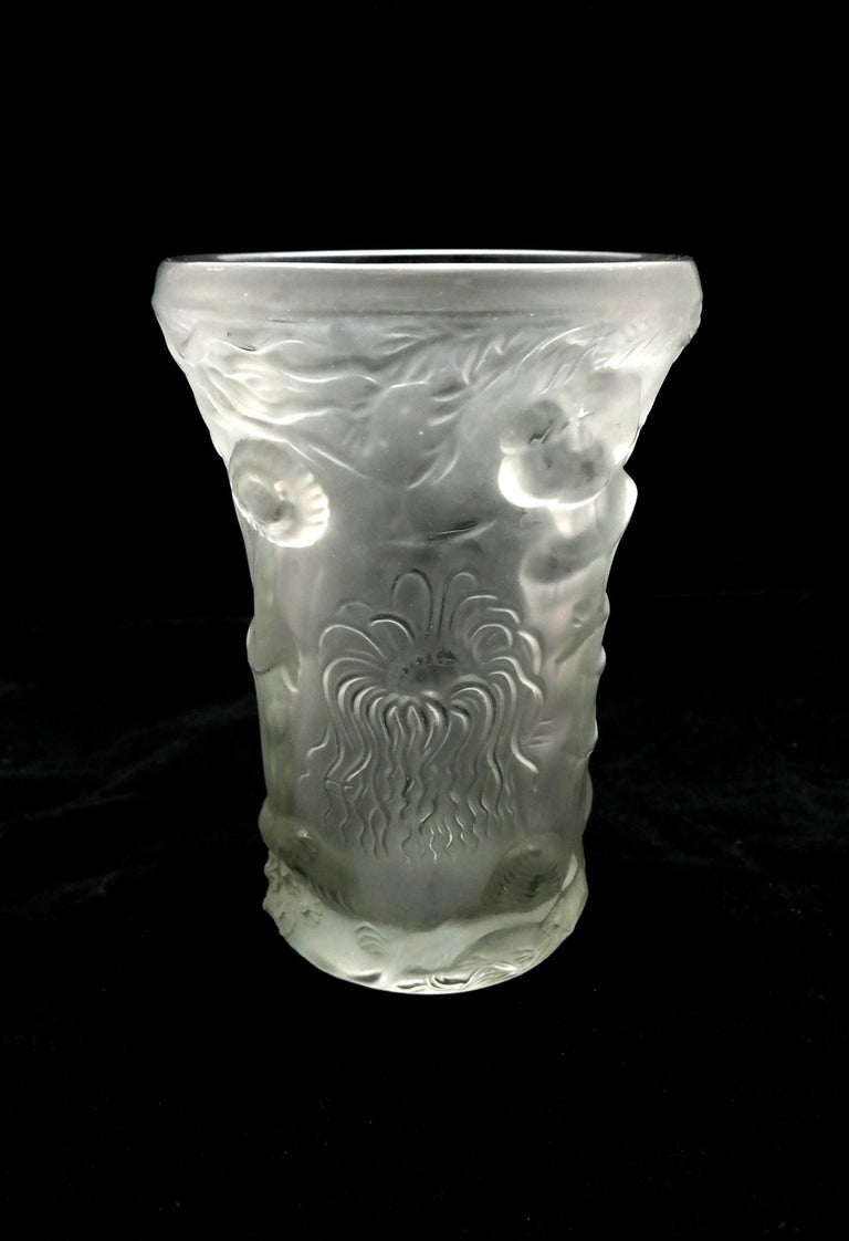 20th Century Art Deco Molded Pressed Glass Vase in Lalique Style For Sale