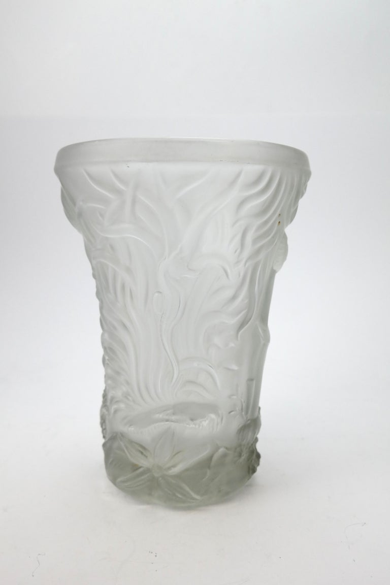 Art Deco Molded Pressed Glass Vase in Lalique Style For Sale 1