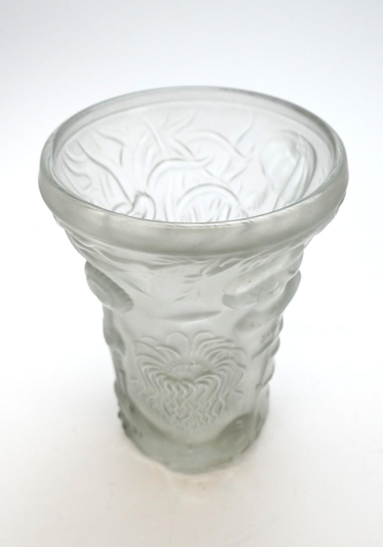 Art Deco Molded Pressed Glass Vase in Lalique Style For Sale 3