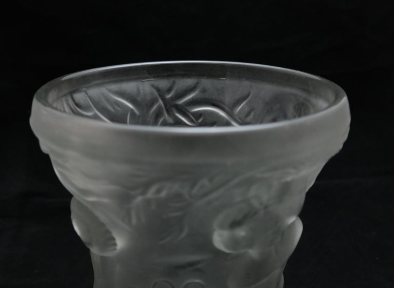 Art Deco Molded Pressed Glass Vase in Lalique Style For Sale 4