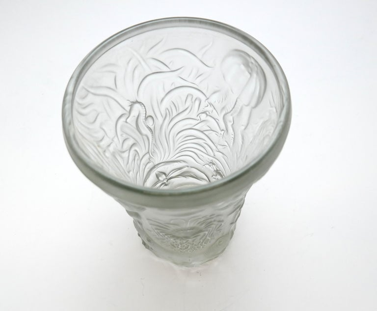 Art Deco Molded Pressed Glass Vase in Lalique Style For Sale 5