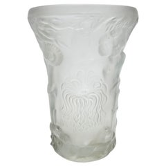 Art Deco Molded Pressed Glass Vase in Lalique Style