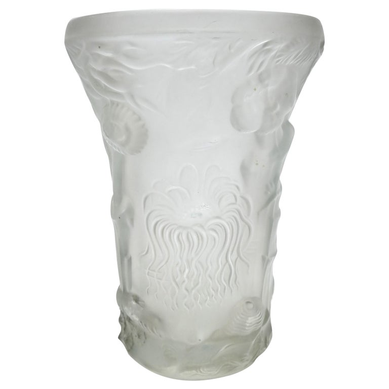 Art Deco Molded Pressed Glass Vase in Lalique Style For Sale