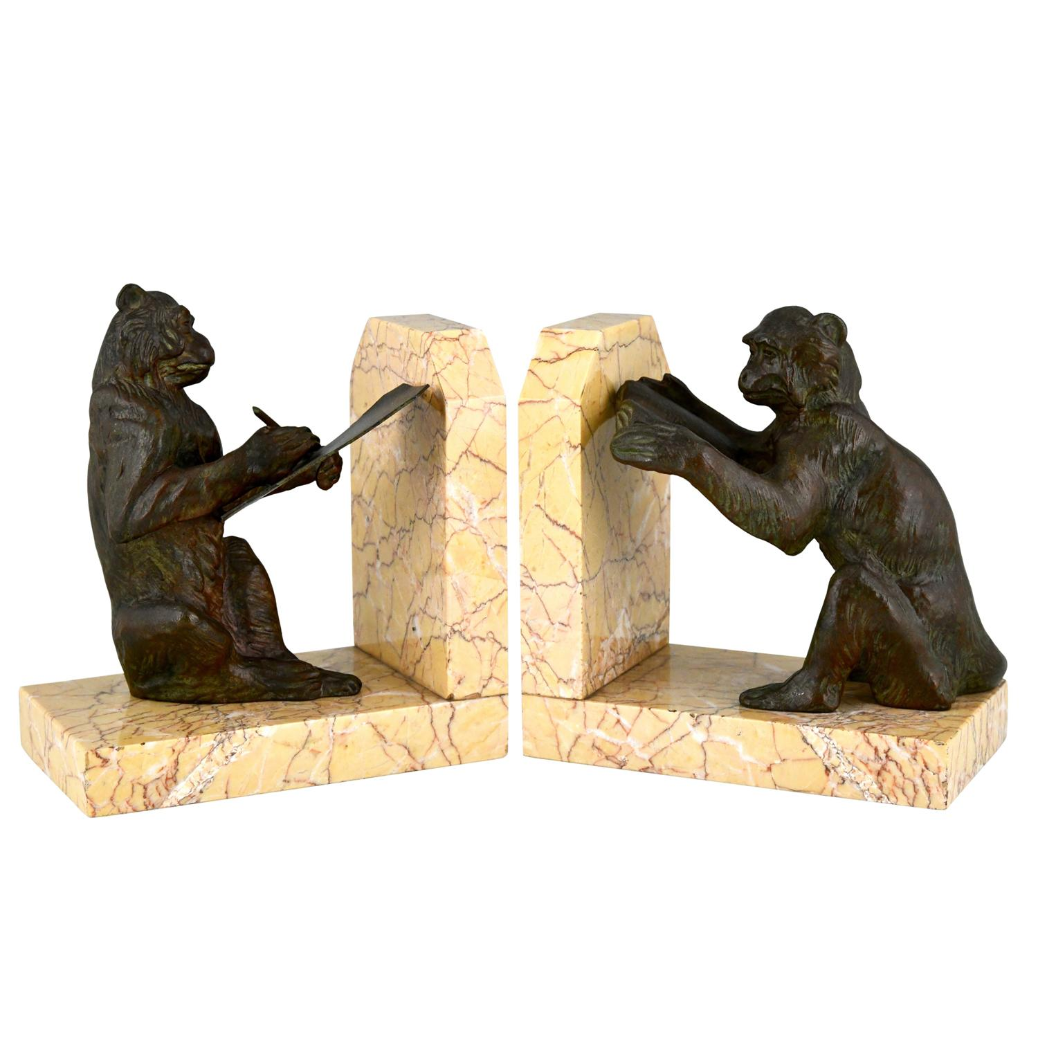 Art Deco Monkey Bookends by Carlier, France, 1930