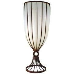 Art Deco Monumental Iron Framed Glass Vase