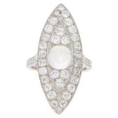 Art Deco Moonstone and Diamond Cocktail Dress Ring Set in Platinum