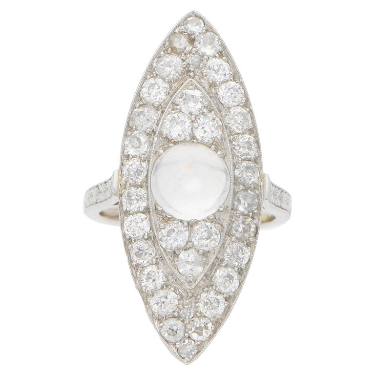 Art Deco Moonstone and Diamond Cocktail Dress Ring Set in Platinum For Sale