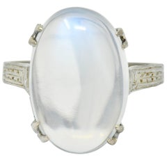 Art Deco Moonstone Cabochon 18 Karat White Gold Statement Ring