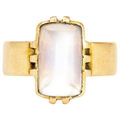 Art Deco Moonstone Cabochon and 18 Carat Gold Ring