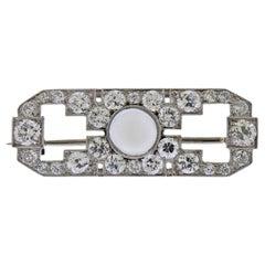 Art Deco Moonstone Diamond Platinum Brooch