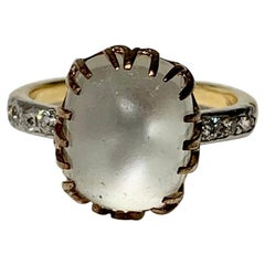 Art Deco Moonstone Old Mine Diamond Ring 14 Karat White Yellow Gold