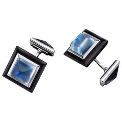 Art Deco Style Moonstone Pyramids and Horn Cufflinks in 18 Karat White Gold