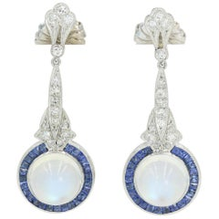 Art Deco Moonstones, Diamond and Square Cut Sapphire Earrings in Platinum