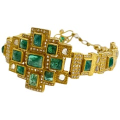 Art Deco Mosaic 10.05 Carat Emerald Statement Coomi Watch Style Bracelet