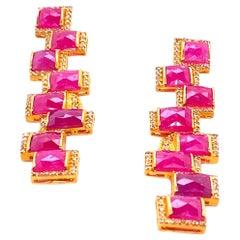 Art Deco Style Mosaic 16.34 Carat Ruby Long Drop Coomi Earrings