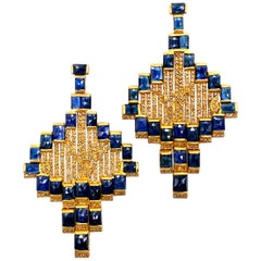 Art Deco Style Mosaic 20 Karat Yellow Gold Blue Sapphire Drop Coomi Earrings