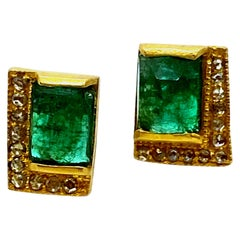 Art Deco Style Mosaic 20 Karat Yellow Gold Emerald Coomi Stud Earrings