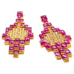 Art Deco Mosaic 20 Karat Yellow Gold Ruby Drop Coomi Earrings