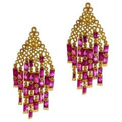 Art Deco Style Mosaic 31.36 carat Ruby Coomi Tassel Chandelier Earrings