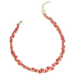 Art Deco Mosaic 51.55 Carat Ruby Checkers Coomi Necklace