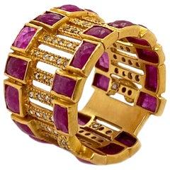 Art Deco Mosaic Cocktail Band 20 Karat Yellow Gold Ruby Coomi Ring