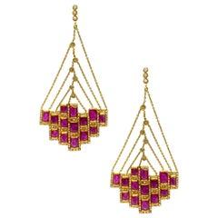 Art Deco Mosaic Dangle Drop 20 Karat Yellow Gold Ruby Coomi Earrings
