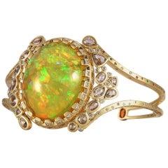 Art Deco Style Mosaic Opal 20 Karat Yellow Gold Coomi Bracelet Cuff