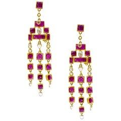 Art Deco Mosaic Waterfall Drop 20 Karat Yellow Gold Ruby Coomi Earrings