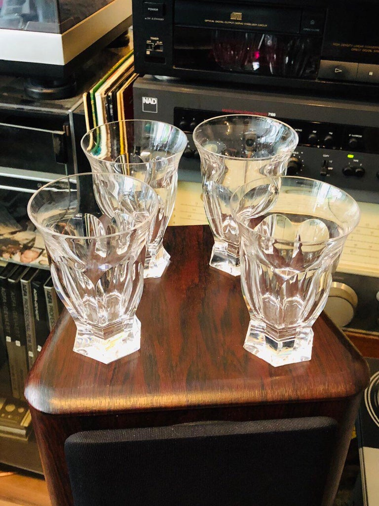 Set of four modern Moser Glass tumblers Adele Melikoff pattern with solid base 4 ½ inch, stencilled marks  It was more than 160 years ago that gifted Czech engraver Ludwig Moser breathed life into Moser crystal and in doing so enchanted the