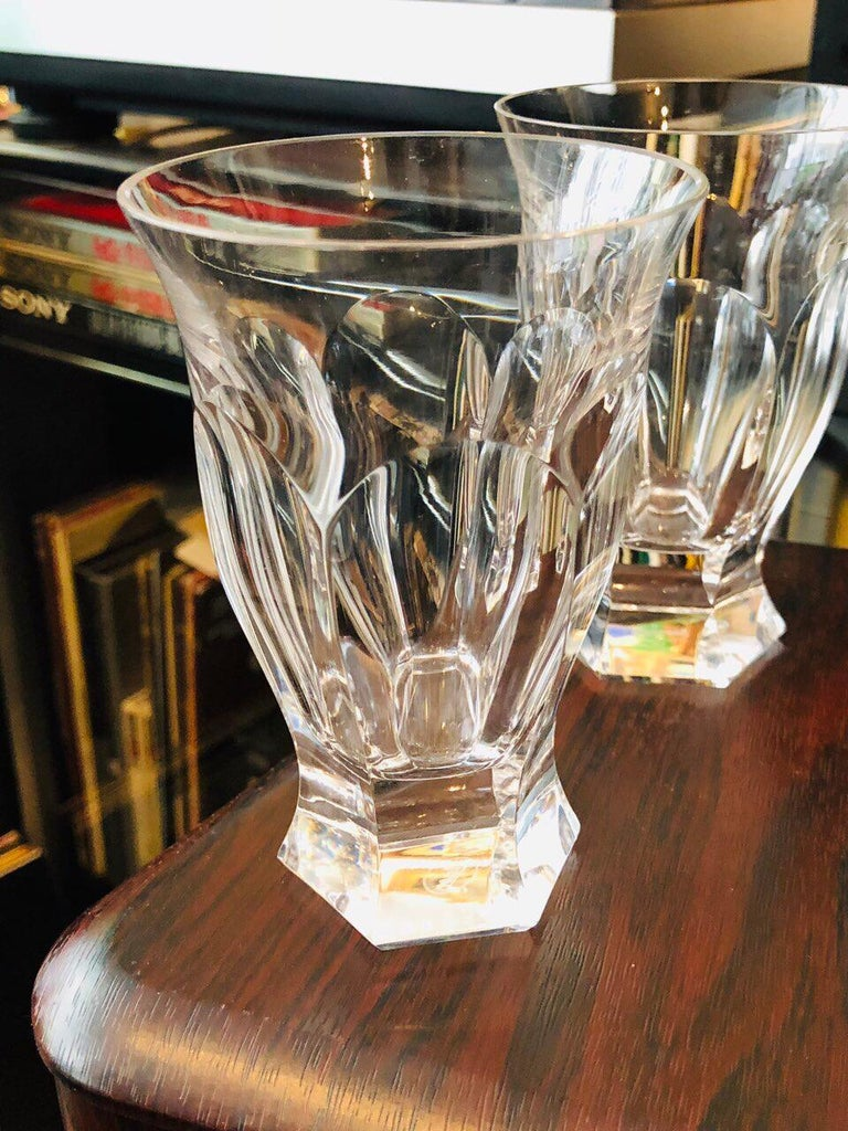 Hand-Carved Art Deco Moser 4 Glasses Tumblers Adele Melikoff, 1920 For Sale