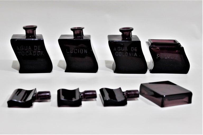 Art Deco Moser Style Interlocking Amethyst Crystal Perfume Bottles and Jar Set For Sale 4