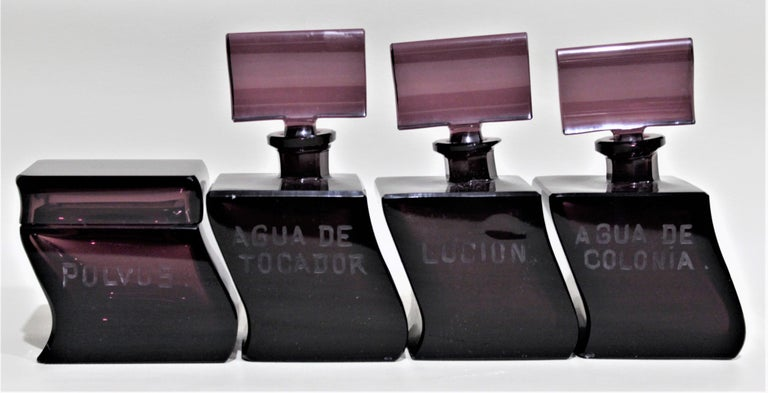 Art Deco Moser Style Interlocking Amethyst Crystal Perfume Bottles and Jar Set For Sale 9