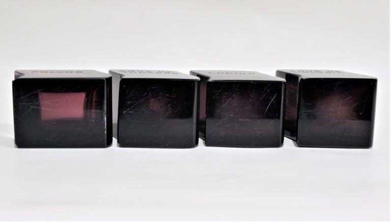 Art Deco Moser Style Interlocking Amethyst Crystal Perfume Bottles and Jar Set For Sale 3